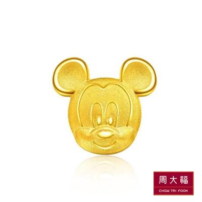 周大福 迪士尼經典系列 歡樂米奇黃金耳環(單耳)