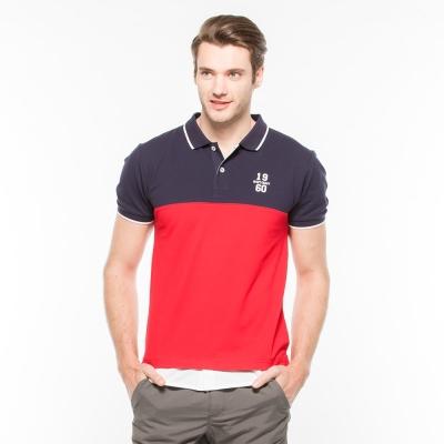 Hang Ten男裝時尚拼接彈性條紋POLO衫紅