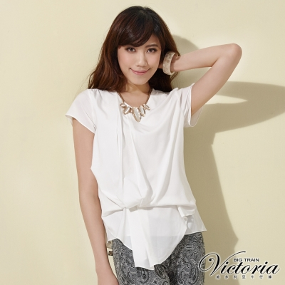 Victoria V領褶子垂墜設計短袖T-女-白