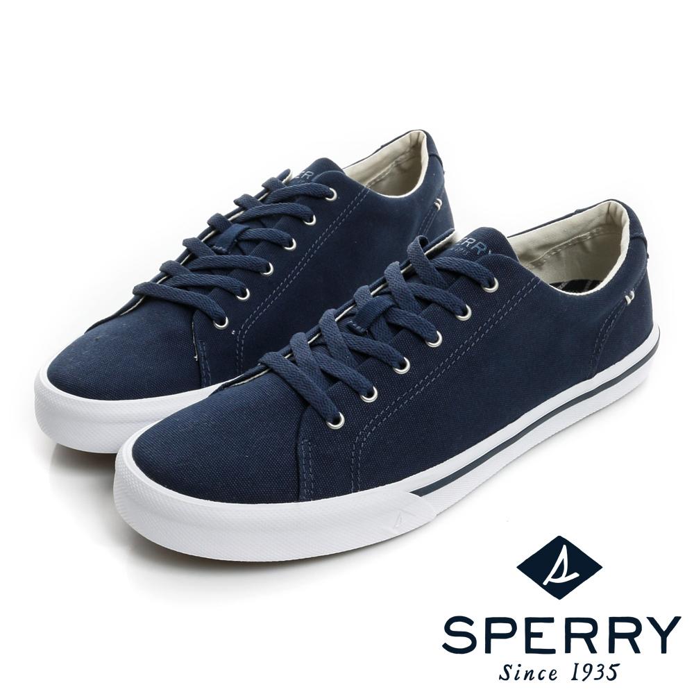 SPERRY  Striper全新進化吸震減壓帆布休閒鞋(男款)-海軍藍