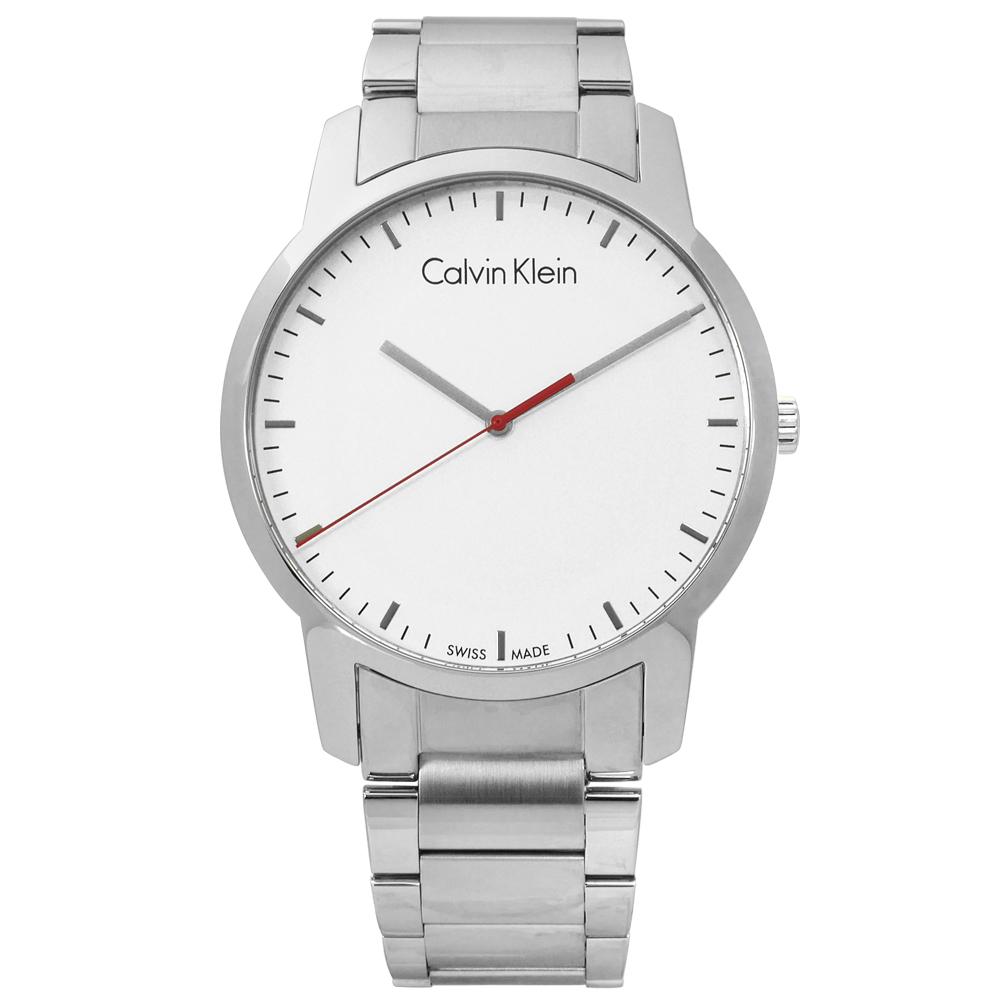 CK 時尚曼哈頓簡約風不鏽鋼手錶-銀白色/43mm