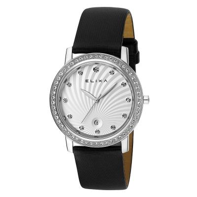 ELIXA Finesse系列銀框 白色晶鑽刻度錶面/黑色皮革錶帶38.5mm