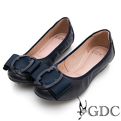GDC-真皮知性歐風扣環霧面質感平底包鞋-藍色