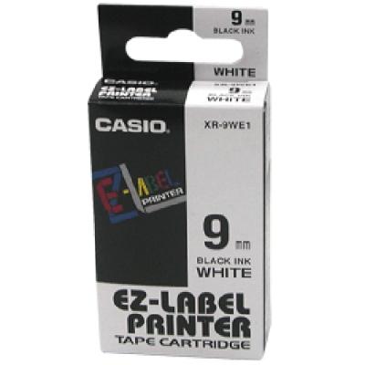 CASIO XR-9WE1白底黑字標籤帶9m/m×8M