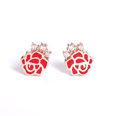 微醺禮物 正韓 925銀針 鍍K金 金邊紅玫瑰 鋯石點綴 耳針 耳環