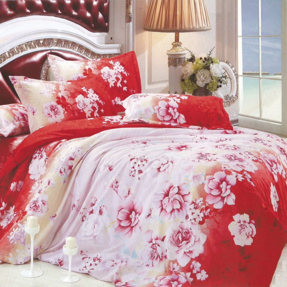 【玫瑰戀曲】(5.0呎x 6.2呎)六件式雙人(100%高級純棉)鋪棉床罩組