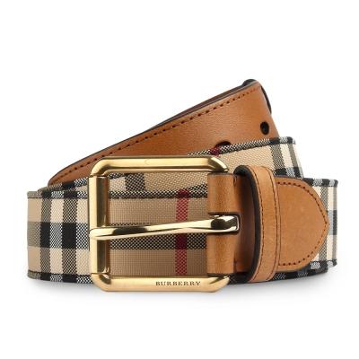 BURBERRY HORSEFERRY 經典格紋皮革穿式皮帶-棕褐色