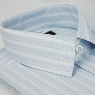 金‧安德森 藍底藍細紋仿絲質短袖襯衫