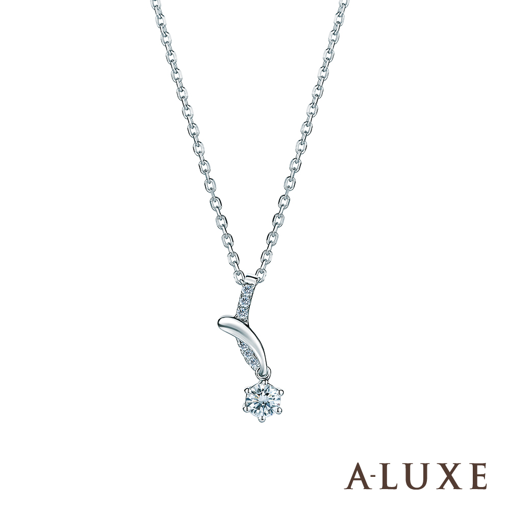 A-LUXE 亞立詩 18K金 0.20克拉 擁愛系列鑽石項鍊
