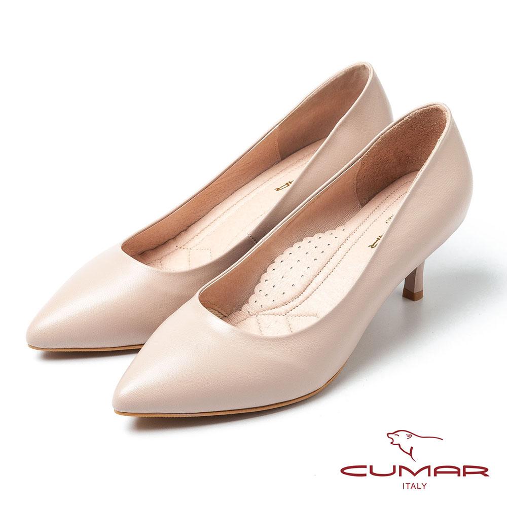 CUMAR 都會洗鍊 嚴選羊皮尖頭鞋-粉膚