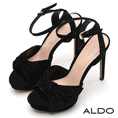 ALDO 原色真皮蝴蝶扭結金屬釦帶繫踝高跟涼鞋~尊爵黑色