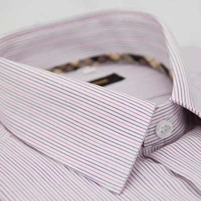 金‧安德森 經典格紋繞領紫粉條紋短袖襯衫