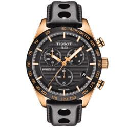 天梭 TISSOT PRS516 賽車風計時錶-黑x玫瑰金/42mm