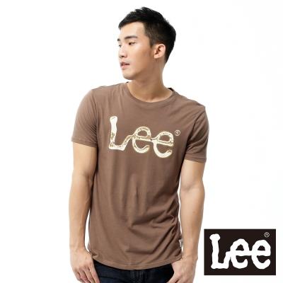 Lee 短袖T恤 米白LOGO噴漆印刷 -男款(咖啡)