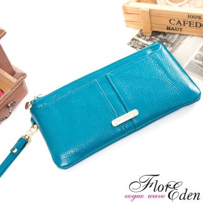 DF Flor Eden皮夾 -  俏莉漾女真皮可拆式單拉鍊長夾-湖水藍