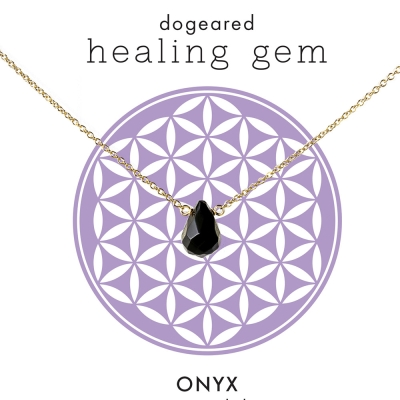 Dogeared 黑曜石瑪瑙 金項鍊Onyx Healing Gem附原廠盒