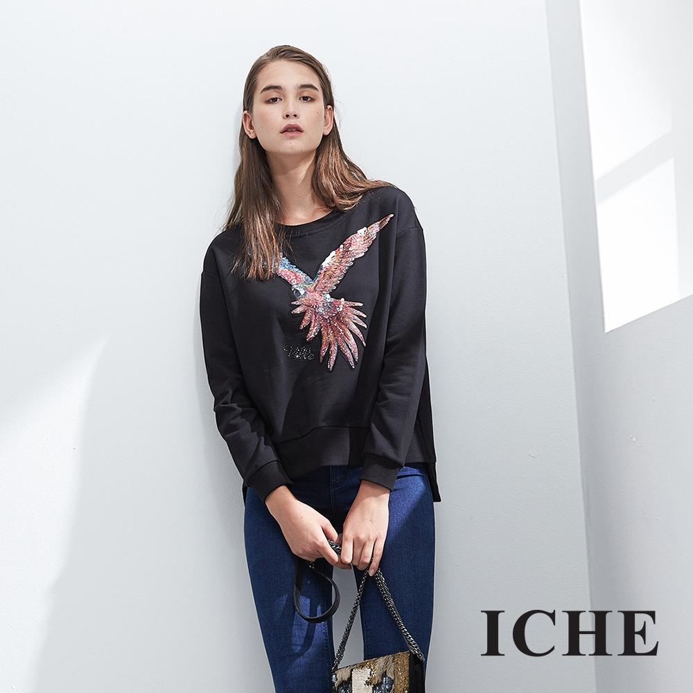 ICHE衣哲 造型立體鑲飾前短後長個性上衣-黑-動態show