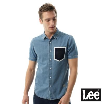 Lee Jade Fusion冰精玉石牛仔短袖襯袖-男款-淺藍色