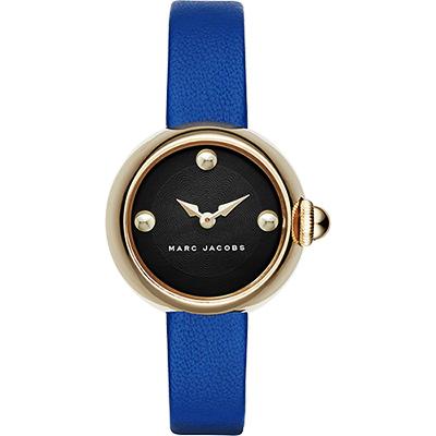 Marc Jacobs Hollywood 名模時尚女錶-金框x藍/28mm