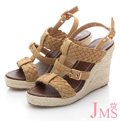 JMS-羅馬假期編織金屬扣楔型涼鞋-卡其色