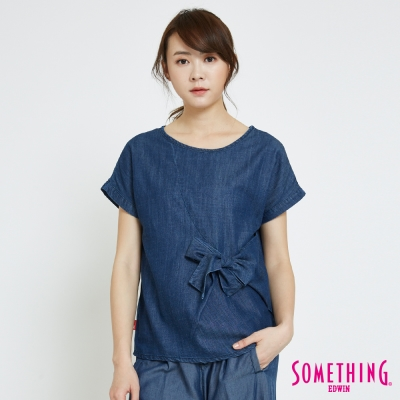 SOMETHING 休閒造型綁結圓領T恤-女-中古藍
