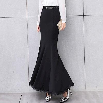 蕾絲荷葉裙襬優雅魚尾裙M-2XL-SZ