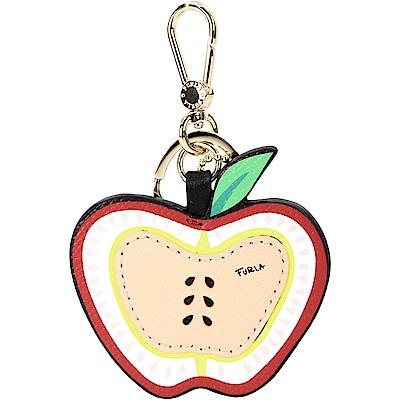 FURLA DELIZIA MELA 防刮皮蘋果造型鑰匙圈(黑紅色)
