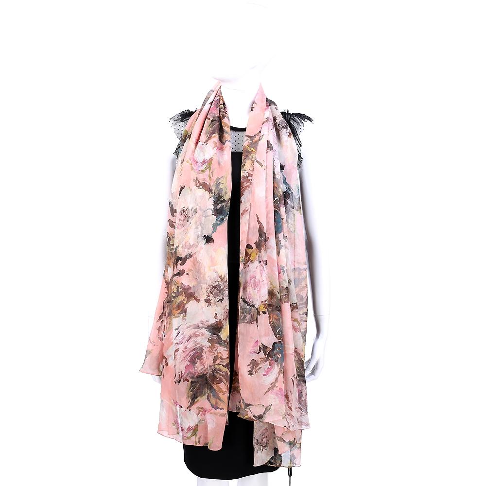 DOLCE & GABBANA 粉色花卉設計圍巾
