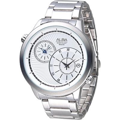 ALBA 新浪風潮大表徑兩地時間腕錶(AR9009X1)-白/46mm
