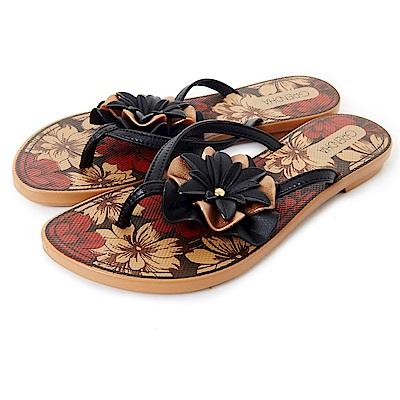 GRENDHA 南洋風花漾時尚夾腳鞋-黑色