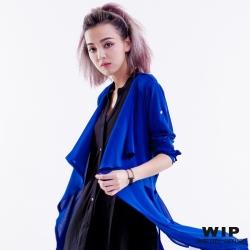 WIP X 2% 綁帶雪紡長版罩衫_藍