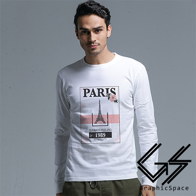 粉色巴黎磨毛水洗長袖T恤 (共三色)-GraphicSpace
