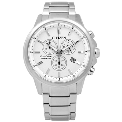 CITIZEN 時尚矚目焦點計時光動能鈦金屬手錶(AT2340-81A)-白色/42mm