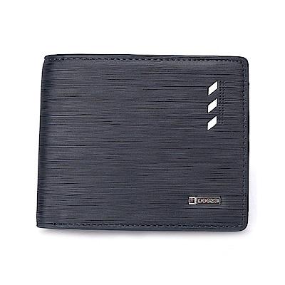 DF BAGSCHOOL皮夾 - 英式極簡風沉穩藍仿皮款男士短夾