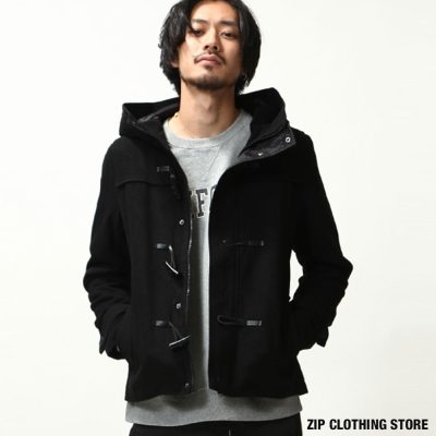防潑水羊毛牛角釦外套 日本男裝