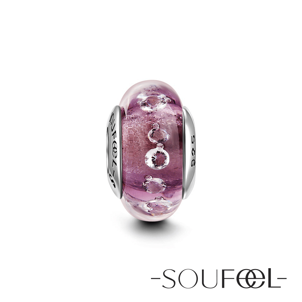 SOUFEEL索菲爾 925純銀珠飾 穆拉諾 紫色夢幻 琉璃珠