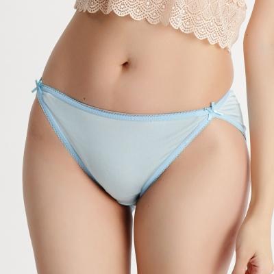 內褲 舒適透氣100%蠶絲中低腰三角內褲 (藍) Chlansilk 闕蘭絹