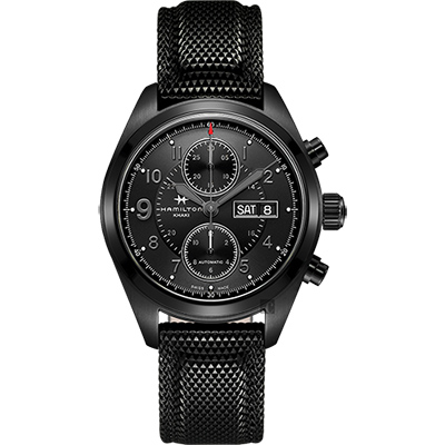Hamilton 漢米爾頓 卡其野戰系列日曆計時機械錶-黑/42mm