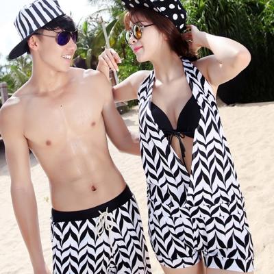 Biki比基尼妮泳衣,V字黑白色千鳥情侶泳衣男泳褲(男生購買區)