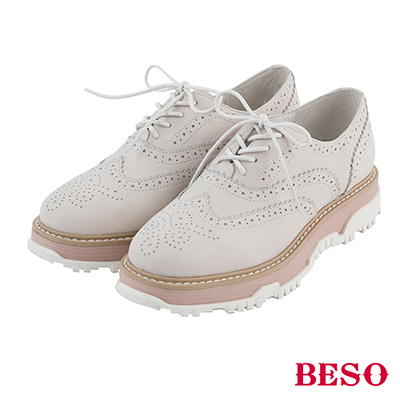 BESO  英倫時尚 復古學院風英倫牛津厚底鞋~象牙白