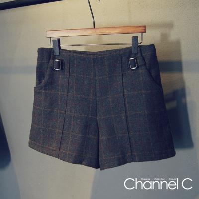 英倫金屬扣格紋毛呢短褲-Channel-C