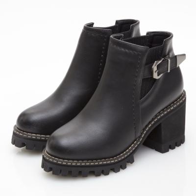 JMS-彈性鬆緊搭釦厚底高跟短靴-黑色