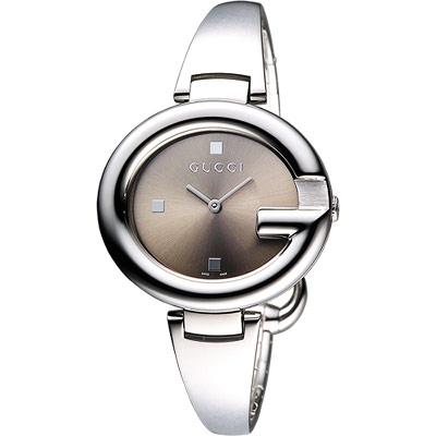 GUCC I Guccissima 時尚手鐲腕錶-咖啡/36mm