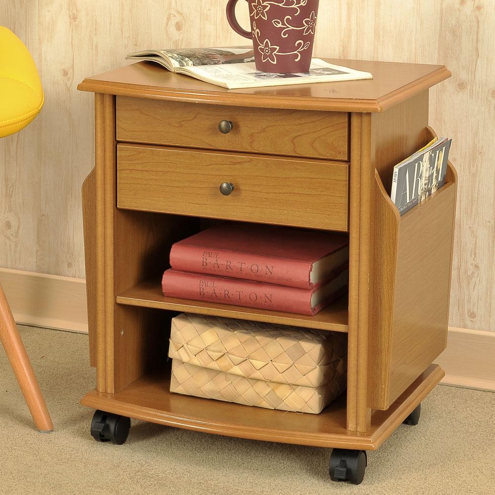 Asllie達爾雜誌小茶几床邊桌沙發側邊桌雜誌桌-橡木色40x35x48cm