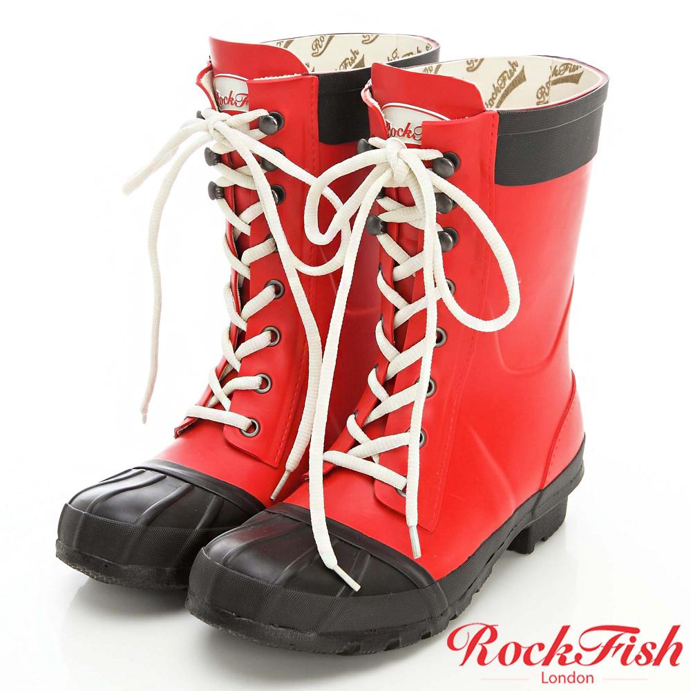 ROCKFISH 中性帥氣風短筒綁帶雨靴 摩登系列 磚塊紅