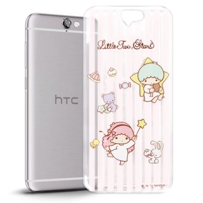 KikiLala雙子星-HTC-ONE-A9-透明軟式手機殼-粉紅條紋