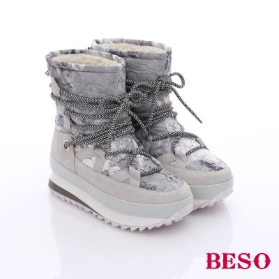 BESO 潮人街頭風 異材質拼接迷彩圖騰短靴  淺灰色
