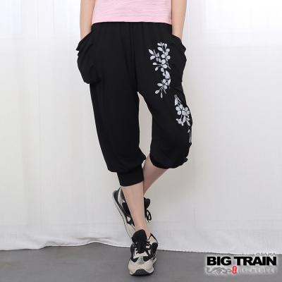 BIG TRAIN 花影女款飛鼠褲-女-黑色