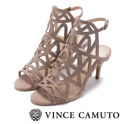 VINCE CAMUTO 典雅時尚 繞踝波浪紋高跟涼鞋-灰色