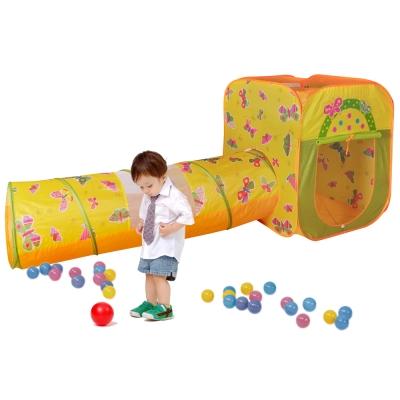 寶貝樂四角蝴蝶帳篷附隧道折疊遊戲球屋送100球